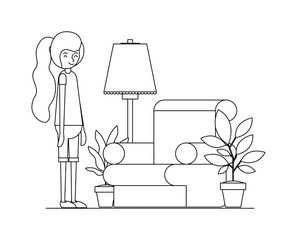 woman in the living room with houseplants scene vector illustration design