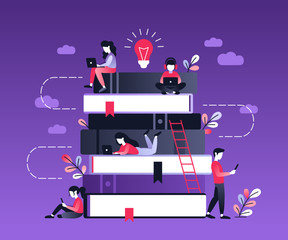 People and book. Concept business flat character design. Ultraviolet vector illustration about distance learning, online courses, education, online books, exam preparation, e-learning.
