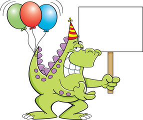 Cartoon illustration of a dinosaur with balloons on it's tail and holding a sign.
