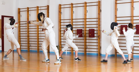 fencers trains in duels