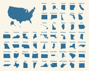 Outline map of the United States of America. States of the USA. Vector illustration.