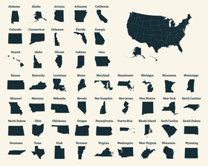 Outline map of the United States of America. 50 States of the USA. US map with state borders. Silhouette of the USA. Vector