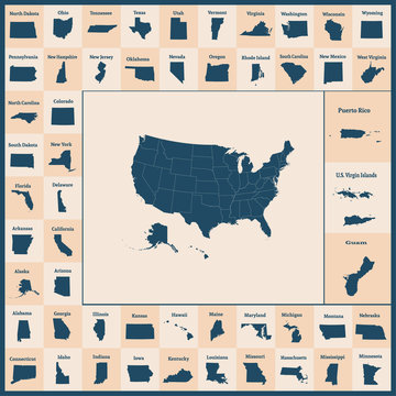 Outline map of the United States of America. 50 States of the USA. US map with state borders. Silhouettes of the USA and Guam, Puerto Rico, US Virgin Islands.