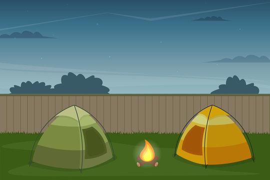 Backyard campout illustration