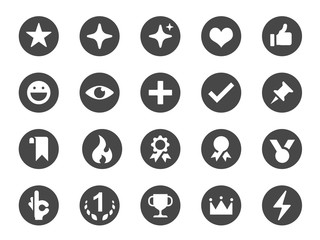 Favorite and like icon set. Included icons as love, button, bookmark, add, wishlist, pin and more.