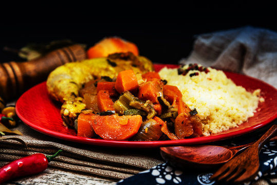 traditional moroccan dish couscous salad with Chicken
