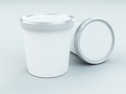 white paper canister with silver lid for ice cream and yogurt mockup