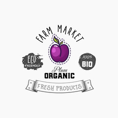 Bio sticker and eco products. Plum web element, Isolated Vector.