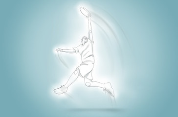continuous One line art frisbee jump swinging catching arm motion blur