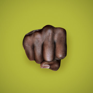 fight for rights woman black power fist on olive green background