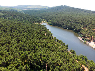 Aerial Drone View of Aydos Forest Lake in Istanbul