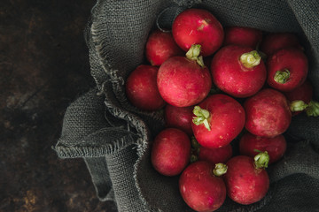 Radish with rustic background