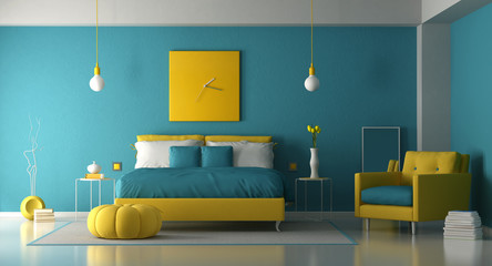 Blue and yellow master bedroom