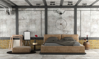 Master bedroom in a loft