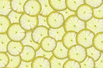 Flat lay Background Slice of lemon on a white background