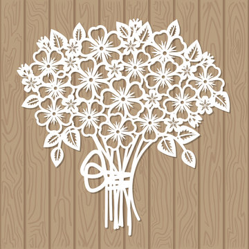 A template for laser cutting. Bouquet of flowers. For cutting from paper, wood, metal. Suitable for the design of wedding invitations, menus, scrapbooking.