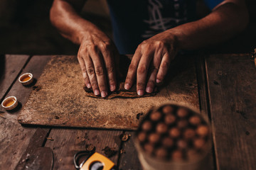 Male hands making cigars