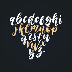 Vector hand lettering alphabet.Font of dry brush style. Calligraphy font letters on black background.