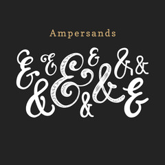 Vector set of handwritten ampersands.Calligraphic symbols collection on white background.