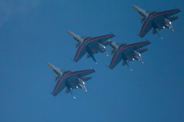 performance of the aerobatic team on supersonic fighters