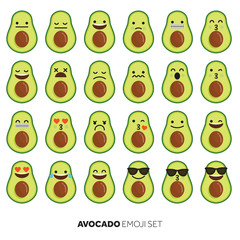 Avocado fruit cute emoji character icon