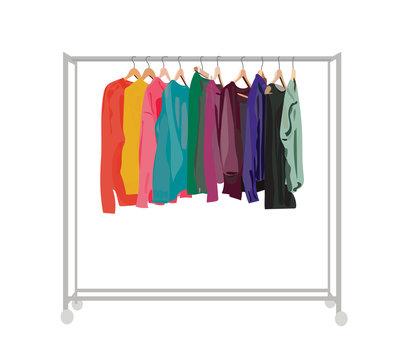 clothes rail. vector shop display  element.