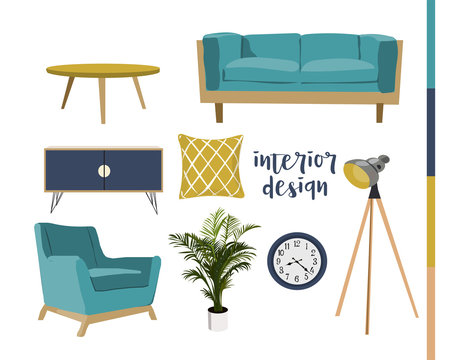 vector mid century modern furniture. home house interior design. 1960s 1950s style.