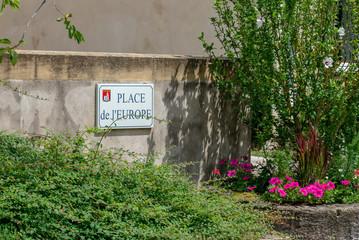 Plaque de la Place de l'Europe à la maison de Robert Schuman (l'un des pères fondateur de l'Europe) à la ville de Scy-Chazelles