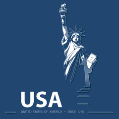 Statue of Liberty USA, 2018, poster. Blue Linear Image. National Symbol of America. Illustration, dark blue background. Use presentations, corporate reports, emblems, labels, logo, inscription,  woman
