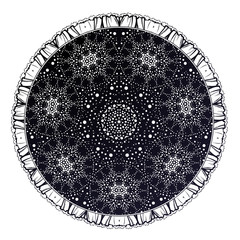 Sacred Geometry. Dark magic night sky Mandala round ornament. Esoteric symbol with dots..