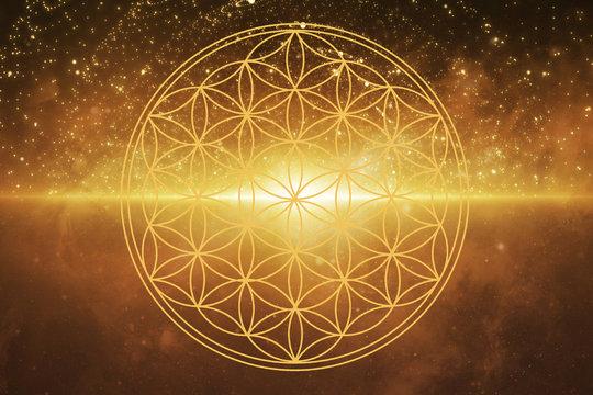 Blume des Lebens mit Sternenkosmos und Lichtstreifen