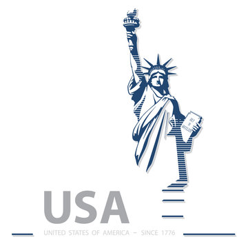 USA, Statue of Liberty, poster. Blue Linear Picture. National Symbol of America. Illustration, white, background. Use presentations, corporate reports, text, emblems, labels, logo, stripes, vector