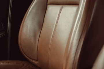 comfortable brown leather car seat, interior business