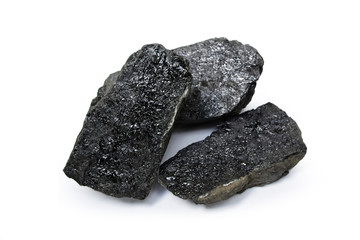 a piece of coal isolated on a white background