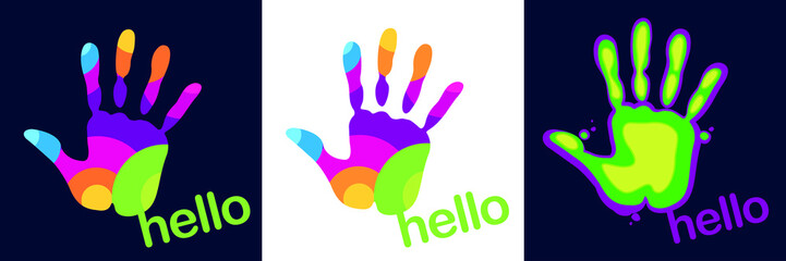 Logo imprint hand paint spot bright colorful stylized give five set hello give five