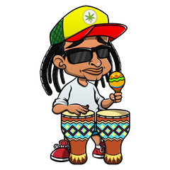 Street Musicians Playing Reggae Music With Marakas and Djembe Drums Cartoon Vector