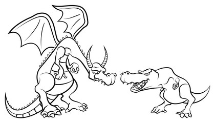 Dragon Againts Tyrannosaurus Rex Coloring Book Cartoon Vector