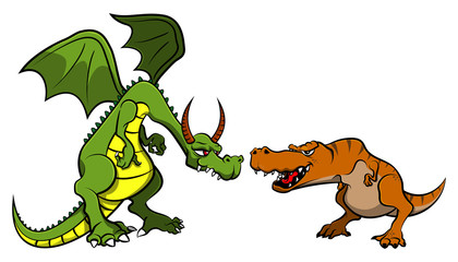 Dragon versus Tyrannosaurus Rex Cartoon Vector