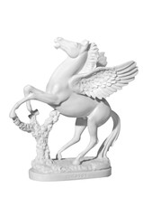 statue of a horse with wings on a white background