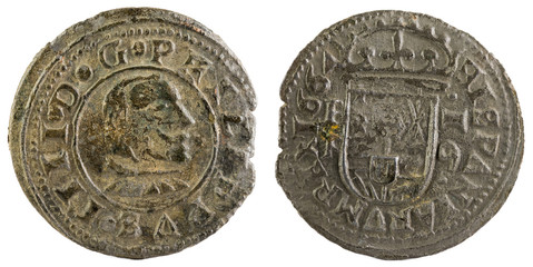 Ancient Spanish copper coin of King Felipe IV. 1664. !6 Maravedis.