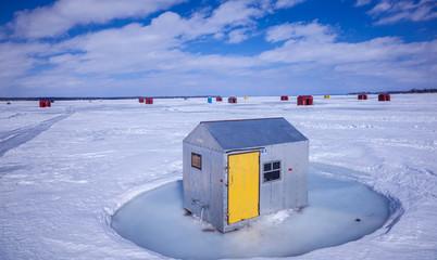 Ice Fishing Huts on Lake Simcoe.