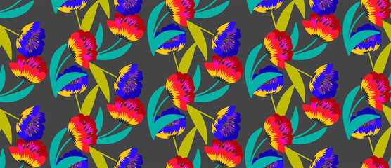 Seamless floral pattern saturated tulips on black
