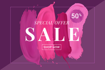 Vector sale banner with text on lipstick stokes background/ Good for salons, beauty shops.