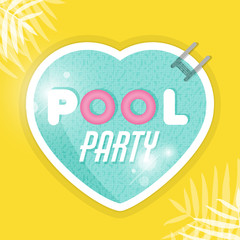 Pool party flyer, poster, invitation or banner template. Swimming pool heart. Vector illustration flat design