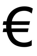 Símbolo negro del euro.