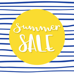 Summer sale lettering. Vector illustration, hand drawn design