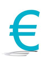 Símbolo azul del euro.