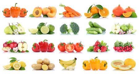 Wall Mural - Früchte Obst und Gemüse Sammlung Apfel Birnen Orange Bananen Erdbeeren Farben frische Freisteller freigestellt isoliert