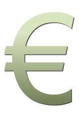 Símbolo verde del euro.