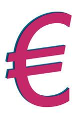 Símbolo rojo del euro.